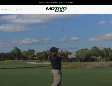 Motivo Golf affiliate banner showing a golfer with a 5 iron