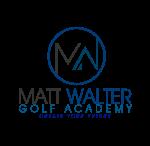 Matt Walter Golf Academy logo in blue and black thin lines